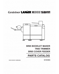 RICOH Options SR85 BOOKLET-MAKER TRIMMER COVER-FEEDER Parts Catalog PDF download