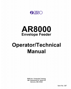 RISO AR 8000 EnvelopeFeeder Service Parts Manual