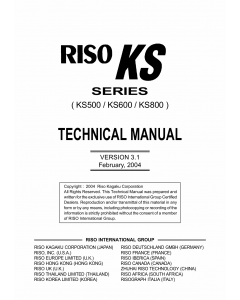 RISO KS 500 600 800 TECHNICAL Service Manual