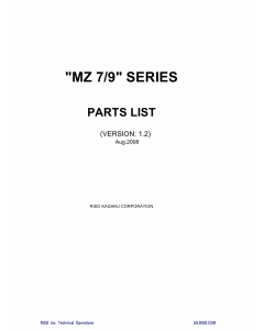 RISO MZ 770 790 MV-7690 Parts List Manual