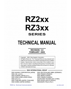 RISO RZ 200 220 230 230C 300 310 370 370C 390 TECHNICAL Service Manual