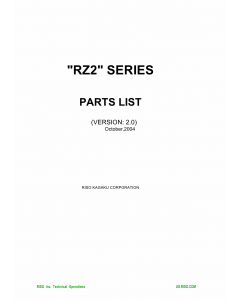 RISO RZ 200 220 230 Parts List Manual
