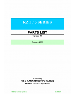 RISO RZ 300 310 330 370 390 500 510 570 590 TECHNICAL Parts List Manual
