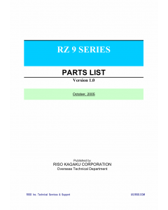 RISO RZ 990 997 970 977 970 977 RV9690 RV9698 Parts List Manual