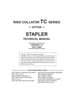 RISO TC 5100 Stapler-Option TECHNICAL Service Manual