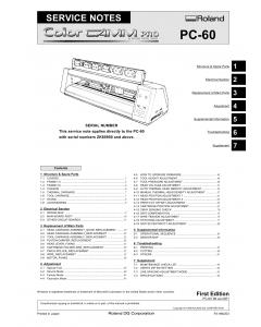 Roland ColorCAMM-Pro PC 60 Service Notes Manual