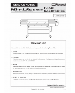 Roland Hi-Fi-JET-Pro2 SJ 740 640 540 FJ-540 Service Notes Manual
