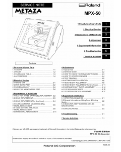 Roland METAZA MPX 50 Service Notes Manual