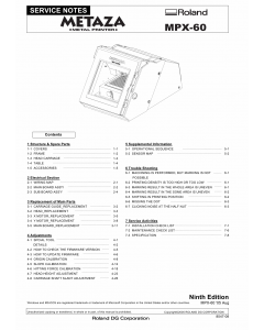 Roland METAZA MPX 60 Service Notes Manual