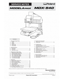Roland MODELA-Pro2 MDX 540 Service Notes Manual