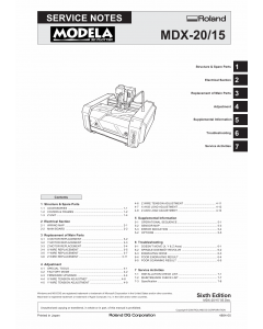 Roland MODELA MDX-15 MDX-20 Service Notes Manual