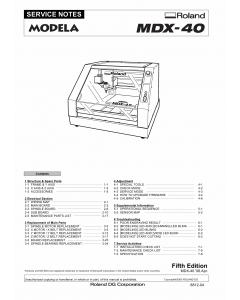 Roland MODELA MDX40 Service Notes Manual
