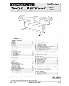 Roland SOLJET-Pro2V SJ 745EX 645EX Service Notes Manual