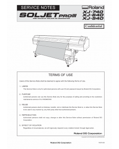 Roland SOLJET-Pro3 XJ 740 640 540 Service Notes Manual