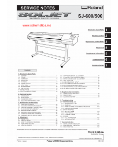 Roland SOLJET SJ 600 500 Service Notes Manual