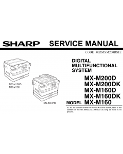 SHARP MX M160 M200 D DK Service Manual