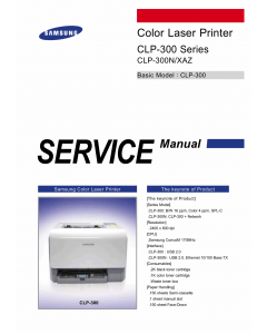 Samsung Color-Laser-Printer CLP-300 300N Parts and Service Manual