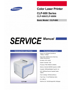 Samsung Color-Laser-Printer CLP-600 600N Parts and Service Manual