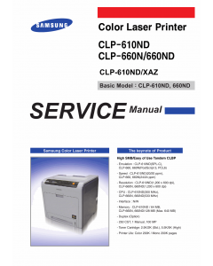 Samsung Color-Laser-Printer CLP-610ND 660N 660ND Parts and Service Manual
