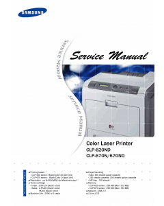 Samsung Color-Laser-Printer CLP-620ND 670N 670ND Parts and Service Manual