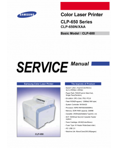 Samsung Color-Laser-Printer CLP-650 650N Parts and Service Manual