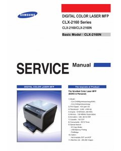 Samsung Digital-Color-Laser-MFP CLX-2160 2160N Parts and Service