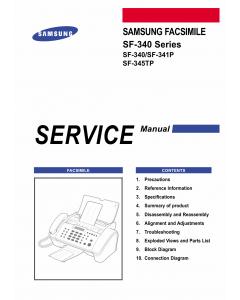 Samsung FACXIMILE SF-340 341P 345TP Parts Manual