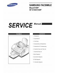 Samsung FACXIMILE SF-5100 5100P Msys-5100P Parts and Service Manual