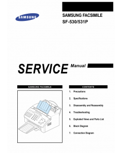 Samsung FACXIMILE SF-530 531P Parts and Service Manual