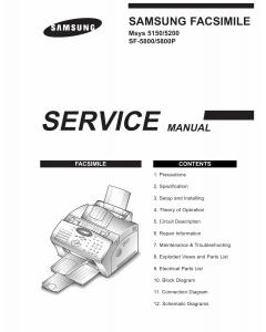 Samsung FACXIMILE SF-5800 5800P Msys-5150 5200 Parts and Service Manual