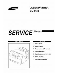 Samsung Laser-Printer ML-1430 Parts and Service Manual
