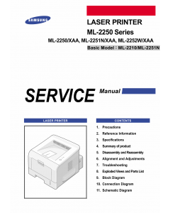 Samsung Laser-Printer ML-2250 2251N 2252W Parts and Service Manual