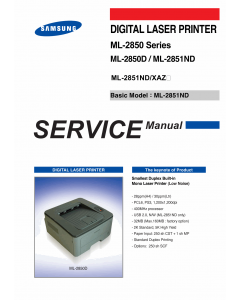 Samsung Laser-Printer ML-2850 2850D 2851ND Parts and Service Manual