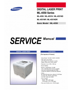Samsung Laser-Printer ML-4550 4551 N ND NR NDR Parts and Service Manual