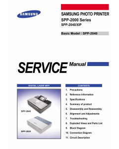 Samsung Photo-Printer SPP-2000 2040 Parts and Service Manual