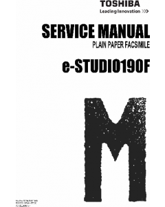 TOSHIBA e-STUDIO 190F Service Manual