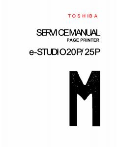 TOSHIBA e-STUDIO 20P 25P Service Manual