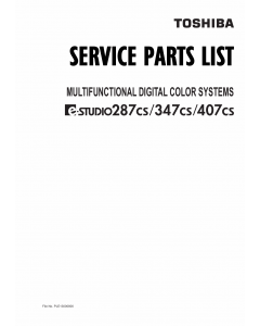 TOSHIBA e-STUDIO 287CS 347CS 407CS Parts List Manual
