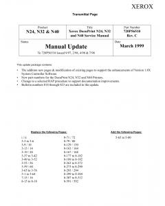 Xerox DocuPrint N24 N32 N40 Parts List and Service Manual