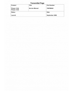Xerox Phaser 3124 3125 Parts List and Service Manual