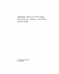 Xerox Phaser 3400 Parts List and Service Manual