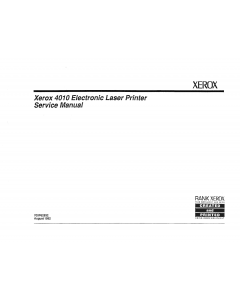 Xerox Printer 4010 Laser Parts List and Service Manual