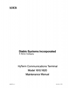 Xerox Printer Diablo-1610 1620 Maintenance Service Manual