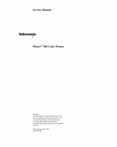 Xerox Tektronix-Phaser-560 Parts List and Service Manual