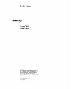 Xerox Tektronix-Phaser-600 Parts List and Service Manual