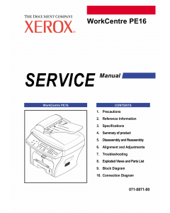 Xerox WorkCentre PE-16 Parts List and Service Manual