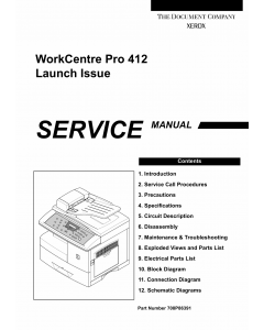 Xerox WorkCentre Pro-412 Parts List and Service Manual