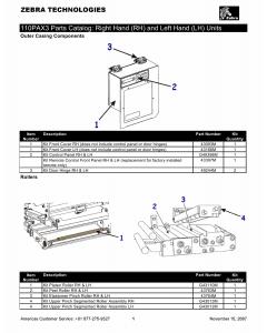 Zebra Label 110PAX3 Parts Catalog