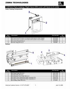 Zebra Label 110PAX4 Parts Catalog