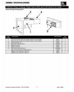 Zebra Label 170PAX3 Parts Catalog